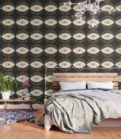 gold foil evil eye in blush Wallpaper by The Best Print Shop - X Blush Wallpaper, Adhesive Wallpaper, Peel And Stick Wallpaper, Three Floor, Fabric Panels, Repeating Patterns, Evil Eye, Pattern Wallpaper, Gold Foil