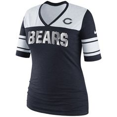 Chicago Bears Womens O.T. Queen IV Deep V-Neck Pullover Fleece Plus Sizes Sweatshirt - Navy Blue
