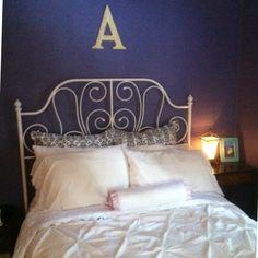 IKEA leirvik bed, purple walls