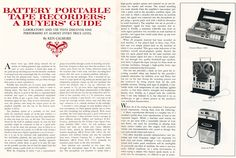 1968 review of portable reel to reel tape recorders in Reel2ReelTexas.com's vintage recording collection