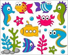 Bajo el mar Clip Art gráfico Digital océano peces lindo
