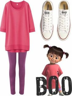 Disney fans might get a simple easy outfit for thei… homemade halloween costumes. Disney fans might get a simple easy outfit for their Halloween night, even with your Converse shoes. Sweet and cute just like BOO. Great Halloween Costumes, Easy Costumes, Easy Disney Costumes, Disney Characters Costumes, Easy Character Costumes, Halloween Halloween, Monsters Inc Halloween Costumes, Cute Halloween Costumes For Teens, Family Halloween