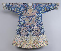 China, Woman's Court Robe, Navy blue silk with multicolored silk and gold metallic weft brocading; gold metallic and black silk complex weave; round bras-colored metal buttons; yeloow silk damask; blue silk satin, 1740
