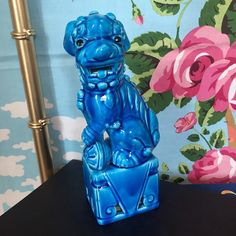 "Single Turquoise Foo. 8.5"". $38 #foolions #foodogs #shopthealist #chinoiserie  Leave zip with email to purchase"