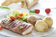 Saftig torsk i spekeskinke Baked Potato, Sausage, Good Food, Potatoes, Bacon, Meat, Dinner, Ethnic Recipes, Sausages