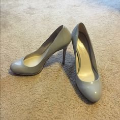 Worn once Aldo gray patent pump heels size 7 Small scuff pictured on left heel. Literally wore these once! ALDO Shoes Heels