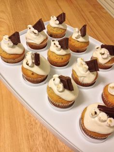 S'mores cupcakes! Graham cracker cake with chocolate chips and a marshmallow cream frosting topped with a hershey bar and toasted marshmallows