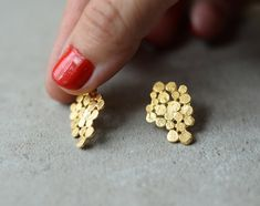 Gold Cluster earrings Christmas gift present bunch by StudioBALADI
