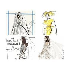 Kate Middleton Wedding Dress Sketches Revealed and Other Fashion News ❤ liked on Polyvore