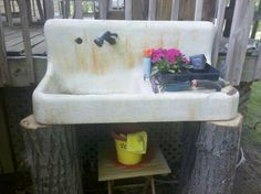 My diy potting bench from an old farm sink