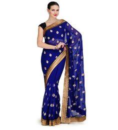 Royal Blue Chiffon Saree with Banarsi Border | Fabroop USA