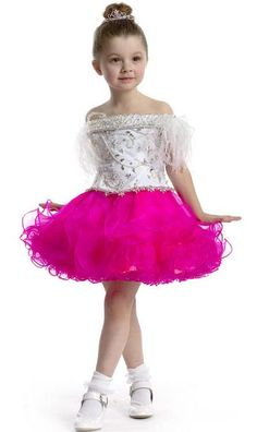Beautiful Perfect Angels Pageant Dress This organza pageant gown has off the shoulder neckline with feathers on the shoulder, gorgeous beaded bodice, and short ruffled skirt. This adorable dress will make your pageant girl a star! Little Girl Pageant Dresses, Pageant Gowns, Homecoming Dresses, Girls Dresses, Flower Girl Dresses, Flower Girls, Pagent Dresses, Nice Dresses, Toddler Pageant