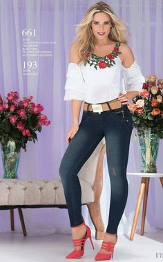 women's spring summer fashion off shoulder white floral embroidery shirt tops+denim skinny pants+red high heels ankle strap shoes Casual Outfits, Cute Outfits, Fashion Outfits, Womens Fashion, Spring Summer Fashion, Autumn Fashion, Girl Celebrities, Sexy Jeans, Western Outfits