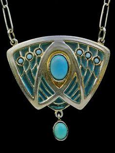 HEINRICH LEVINGER (Pforzheim) Jugendstil Pendant Silver, plique a jour enamel & turquoise Pendant length: 3.2cm Width: 3.2cm Marked: 'HL' 'Depose' '900' German. Circa 1902