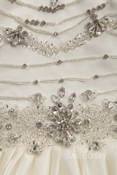 Sexy A-Line V-Neck Natural Train Satin Ivory Sleeveless Open Back Wedding Dress with Beading LD3425 #weddingdress #cocomelody
