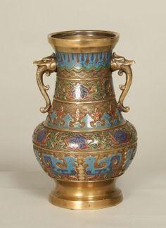Antique Colorful Champleve Vase w/ Dragon Handles, c.1900. www.myrlg.com #vintage #homedecor
