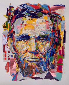 """Abraham Lincoln"" (2014) - collage by John Morse / Star Dog Studio"