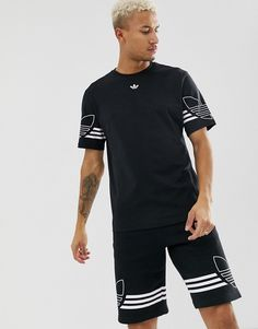 adidas Originals T-Shirt Outline Trefoil Logo Black DU8145 b2ea92b74c37f