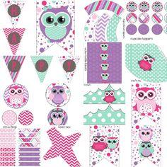 Pink Purple Girls Owl Birthday Party Decorations Pack Digital DIY Printables Girls Owl Birthday Party Decorations Pack by PocketOfPosiesPrints
