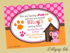 Pink Puppy Printable Invitation, Puppy Dog Personalized Birthday Invite, Pink Puppy Party on Etsy, $13.50