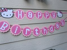 Hello Kitty Birthday Banner Pink Can be Personalized With Name or Color Choice. $22.99, via Etsy.