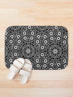 'Mystical Black Design' Bath Mat by Shane Simpson Bath Mat Design, Mystic, Gears, Bath Mats, Black And White, Prints, Stuff To Buy, Color, Bath Rugs