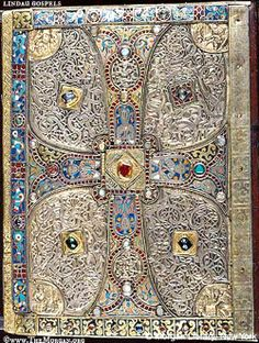 Treasure Binding. LINDAU GOSPELS, back cover (8th century Anglo-Saxon work) © The Morgan Library, New York, NY, USA. (Photo edited to show detail. See original at link.)  http://en.wikipedia.org/wiki/Lindau_Gospels  ... [Do not remove caption. Crediting the copyright holder is required by law]  Promote our Museums & encourage them to share their treasures! Identify the artwork, artist & holding museum.  Link directly to the Museum's site.