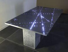 Francesco Passaniti: BATOZ Table FLIGHT optical fiber high performance concrete. Collection 2006 Dimensions: 180cm x 100cm Panel thickness: 3cm Color: gray