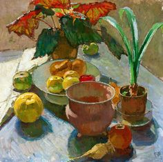 Still Life with Pots of Flowers and Apples (c.1930) Carl Moll