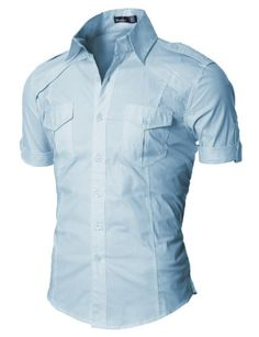 Doublju Mens Dress Shirt with Epaulet SKYBLUE (US-S) $24.99 #Doublju #Shirts #Ties