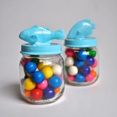 Make these adorable party favors out of baby food jars and dollar store plastic toys!