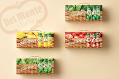 Del Monte Juice Gift Box on Behance Gift Box Packaging, Packaging Design, Pomegranate Sauce, Salad Sauce, Box Design, Juice, Behance, Candy, Gifts