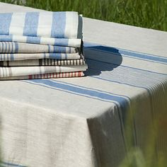 """Linen Striped Tablecloth  From a country rich in textile heritage, this 100% eco-friendly linen tablecloth is handmade by a family run company in Lithuania. - 100% linen - Machine wash, tumble dry 98""""H, 56""""W"""