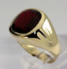 vintage mens ruby rings | Impressive Vintage Mens 8 32ct Pigeon Blood Red Ruby Bezel Yellow Gold ...