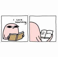 """I love books "" Cute Comics, Funny Comics, Funny Quotes, Funny Memes, Hilarious, Image Hilarante, Funny Wallpapers, Cartoon Wallpaper, I Love Books"