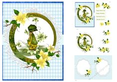 A little girl in a vintage outfit in a wooden circle with yellow flowers. The kit has 3 sheets including blank insert. Easel Cards, Spring Has Sprung, Happy Anniversary, Vintage Cards, Happy Mothers Day, Yellow Flowers, Decoupage, Little Girls