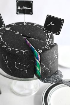 Good CRAP this cake is gorgeous - galaxy swirl constellation cake with zodiac