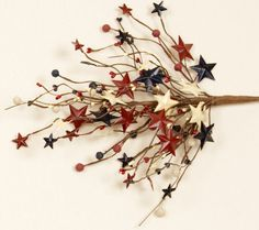Red White and Blue July 4th floral craft stem. Filled with pip berries and metal stars. Decorate for fourth of July or other patriotic events. Matching wreath and garland also available.