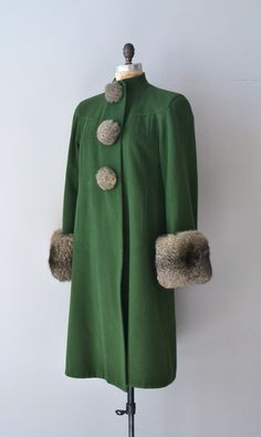 Hinterland coat / vintage 40s coat / green wool by DearGolden