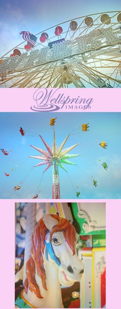 Summer fun photographic art prints of Ferris Wheel, Swing Ride and Carousel horse.