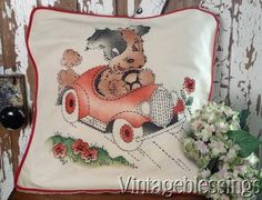 Vintage Vogart Pillow PUPPY DOG Racer CAR Convertible Never Used