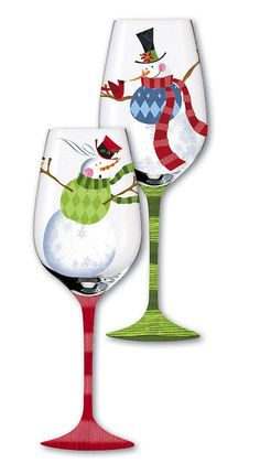 Vested Snowman Christmas Wine Glass - painted glass to remind you of cooler weather when it's hot and the romance of snow when it is cold Decorated Wine Glasses, Hand Painted Wine Glasses, Painted Wine Bottles, Wine Glass Crafts, Wine Craft, Wine Bottle Crafts, Pebeo Porcelaine 150, Christmas Wine Glasses, Wine Bottle Glasses