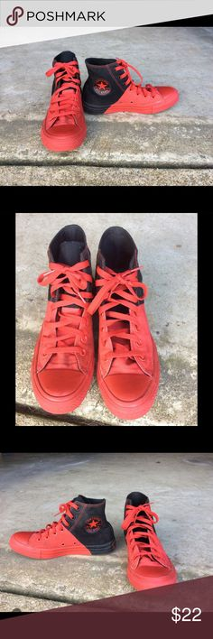 Men's 5 Women's 7 High Top Converse Chuck Taylor Buyer gets these awesome Pre-Owned Converse High Top Chuck Taylor's Allstar tennis shoes  Color Red and Black Men's size 5 Women's size 7 Fantastic Condition No Holes Tares or Stains  Tread shows no wear Smoke Free Home Converse Shoes Sneakers