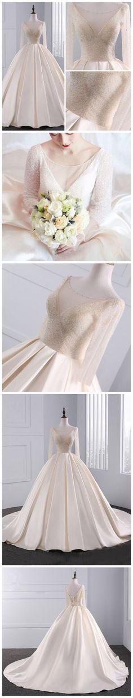 CHIC A-LINE IVORY SCOOP SATIN LONG SLEEVE BEADING MODEST PROM DRESS WEDDING DRESS AM644 #fashion #style #wedding #beauty #chic #love #bridal #weddingdress #longpromdresses #ballgown #amyprom #ivory