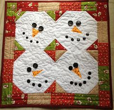 snowman wall quilt or table topper