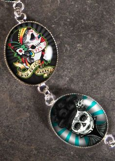 Day of the Dead Silver Charm Bracelet BR-03