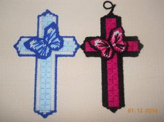 Butterfly cross Wall hanging in plastic canvas by SpyderCrafts, $7.00