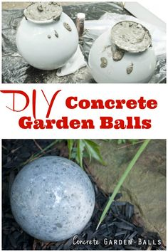 DIY your own concrete garden balls ~ I love how smooth these look.