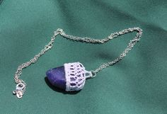 Funky purple crochet capped amulet by FuchsiaFoxStudio on Etsy