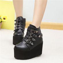 Punk womens gothic buckle straps Wedge High Heel platform ...